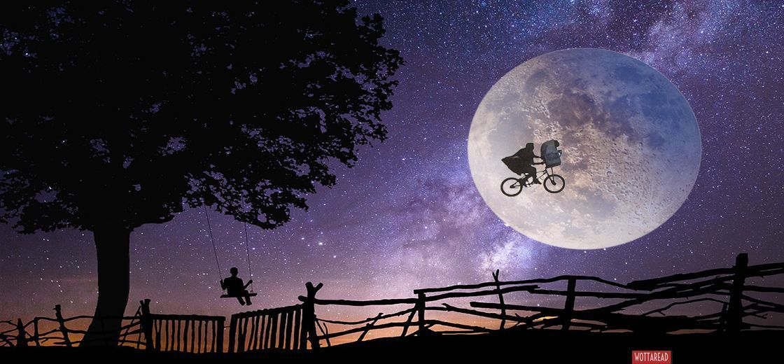 Night and moon with ET